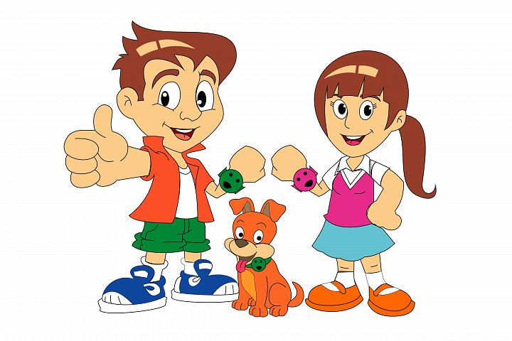 Kids and Dog Cartoon Vector