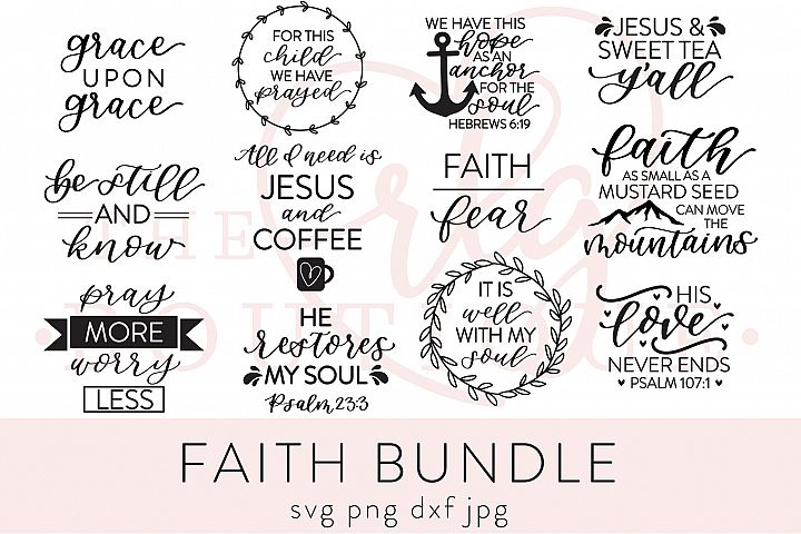 Faith Bundle SVG DXF PNG JPG