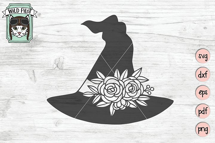 Flower Witch Hat svg file, Halloween svg cut file, witch svg