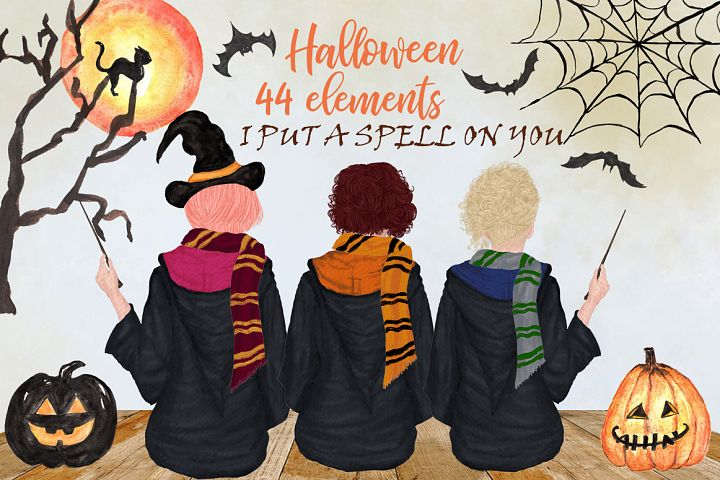 Halloween Girls Clipart Fall backdrop, Witch hat, Mug design