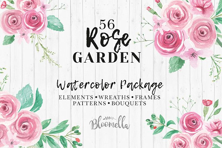 Rose Garden Watercolor Flower Pink Clipart Floral Frames Patterns Package