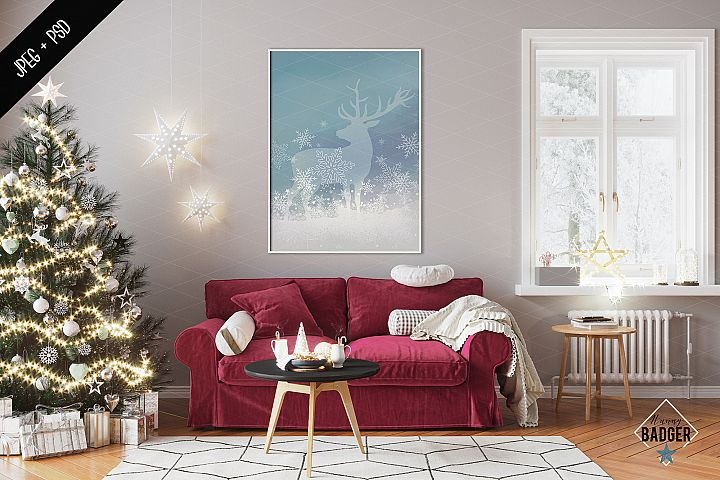 Christmas Interior mockup - frame & canvas mockup creator