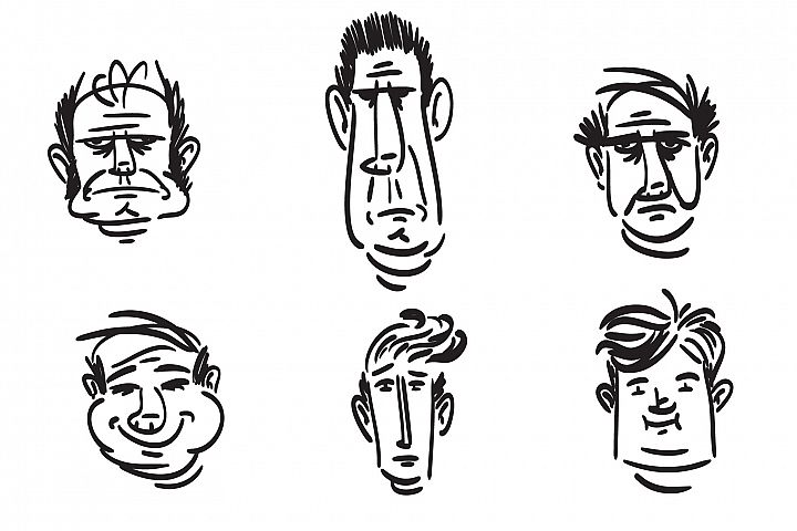 Sketch male faces. Six different types of male face.