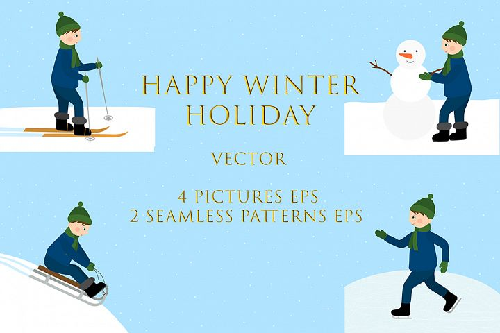Set of Happy Winter Holidays Vector