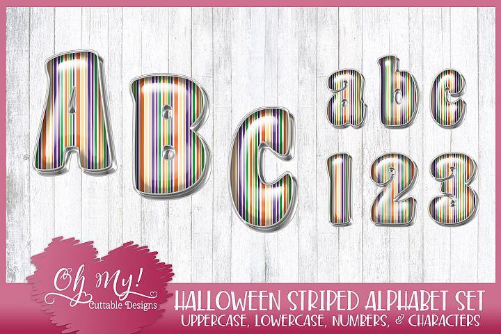 Halloween Striped Alphabet Bundle Clipart Graphics Word Art