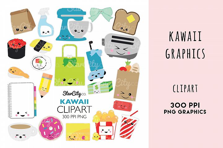 Kawaii Everyday Clipart Graphics, Sushi, popcorn, planner