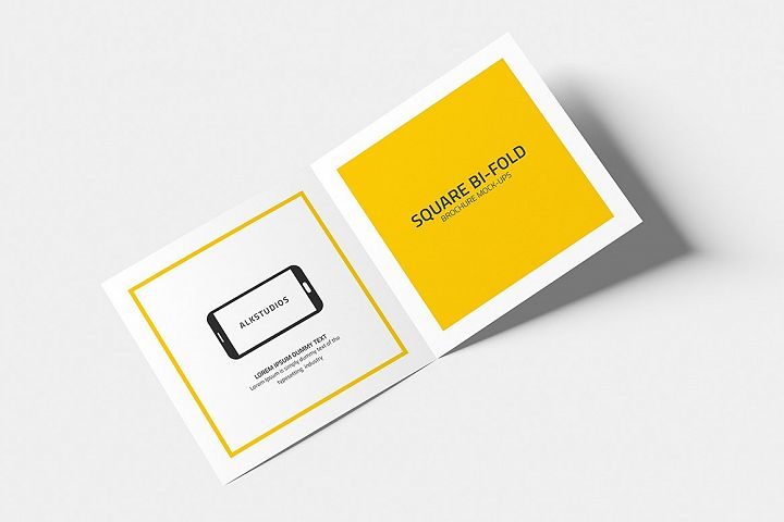 Square Bi-fold Brochure Mock-Up