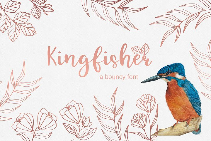 Kingfisher, modern calligraphy font