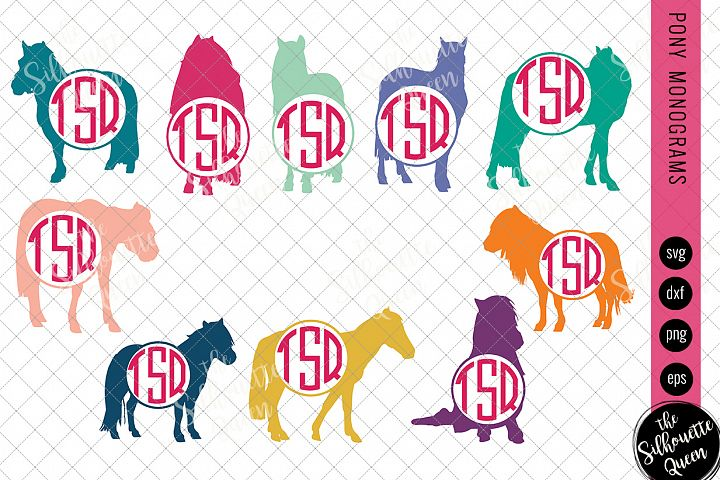 Pony Svg, Monogram Svg, Circle Frames, Cuttable Design, Cut