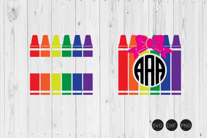 Crayon Monogram SVG, Back to School SVG, DXF, PNG Cut Files