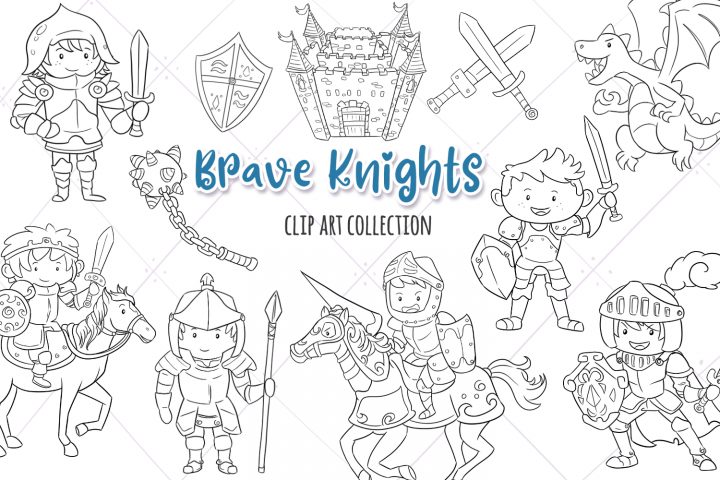 Brave Knights Fantasy Digital Stamps