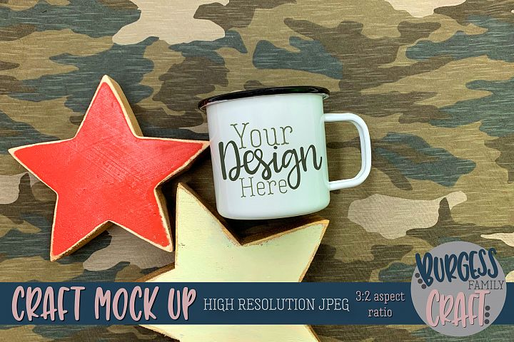 Mens camo white camp mug stars Craft mock up|High Resolution