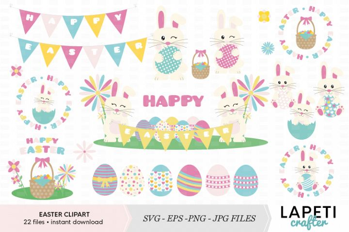 Happy Easter bunny clipart set