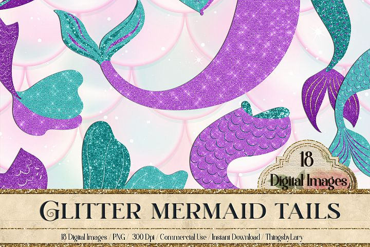 18 Glitter Mermaid Tails Fairy Tale Princess Overlay Images