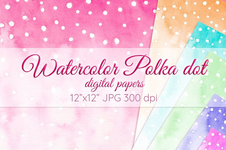 Polka dot digital paper Colorful Watercolor background