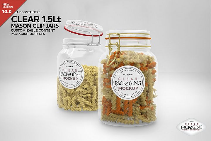 Clear 1.5 Liter Mason Clip Jar Packaging Mockup