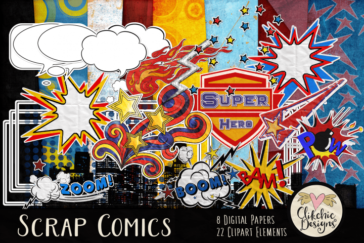 Digital Scrapbook Kit - Scrap Comics Super Hero Clipart Kit
