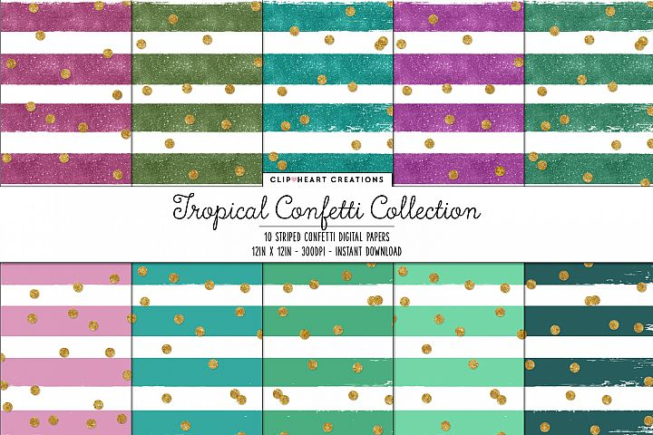 Tropical Confetti Sparkle Digital Papers