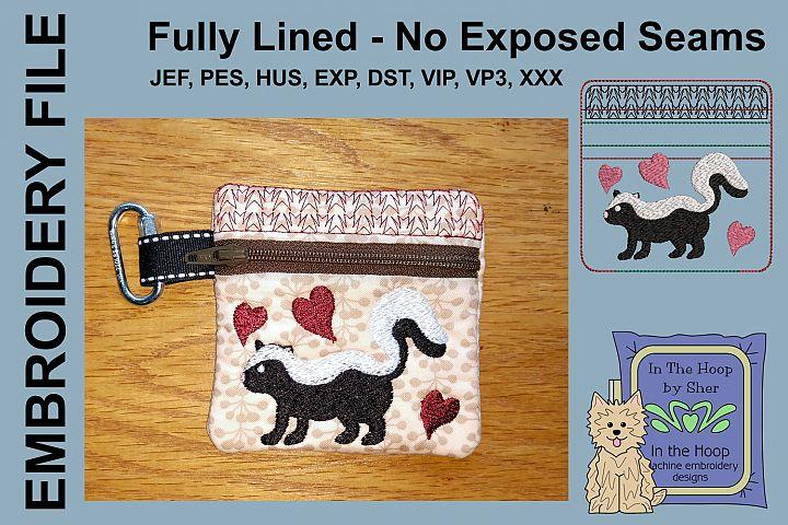 Skunk Mini Zipper Bag / Fully Lined, 4X4 HOOP