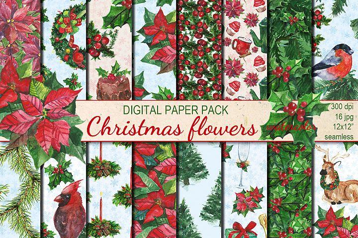 Watercolor Christmas Flowers seamless digital paper pack