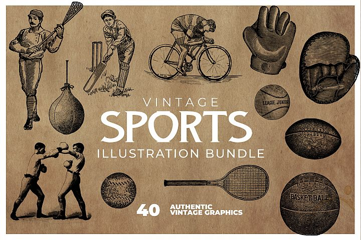 40 Vintage Sports Illustrations