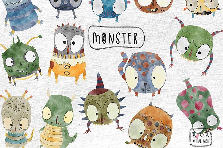 Watercolor Monster Clipart. Cute monster clip art