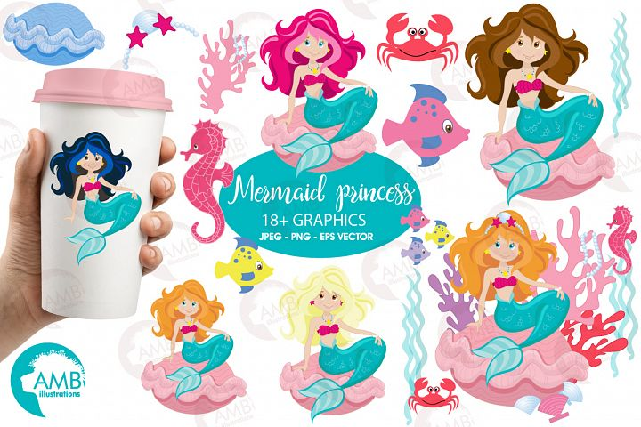 Mermaid Princess clipart, graphics, illustrations AMB-818