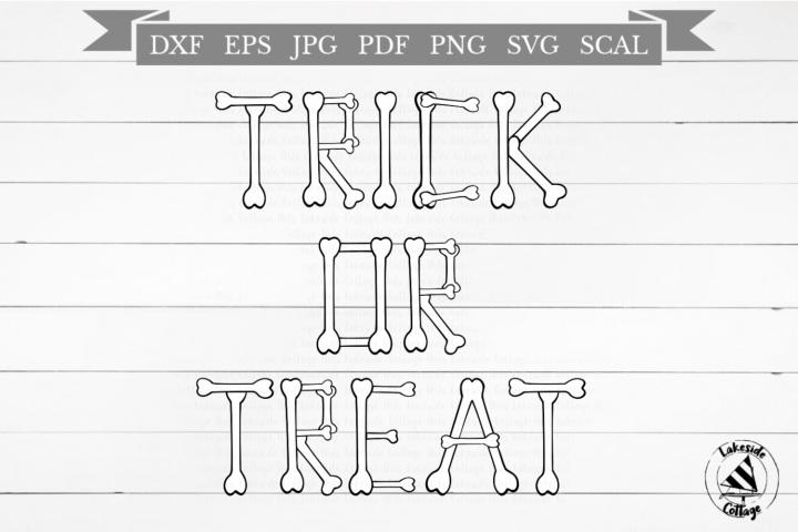 Trick or Treat Halloween Skeleton Bones SVG Design