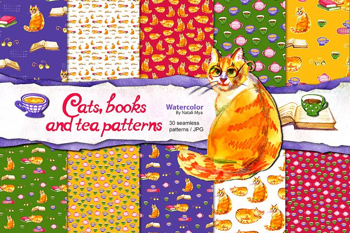Watercolor cats and books patterns