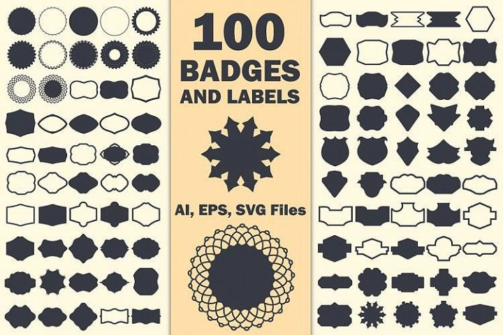 100 Label Shapes Vector Designs