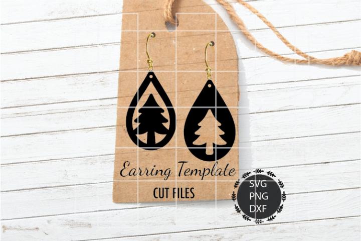 Christmas Tree Earrings Svg, Tear Drop Earrings Svg