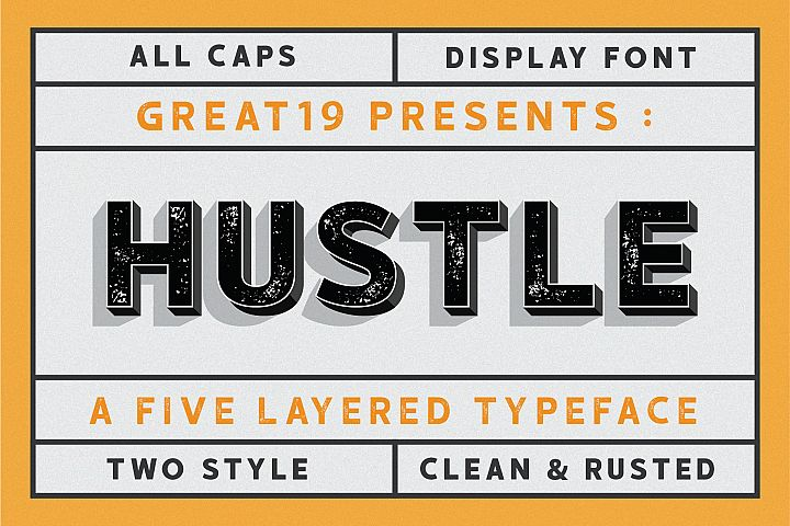 HUSTLE | 5 layers display font