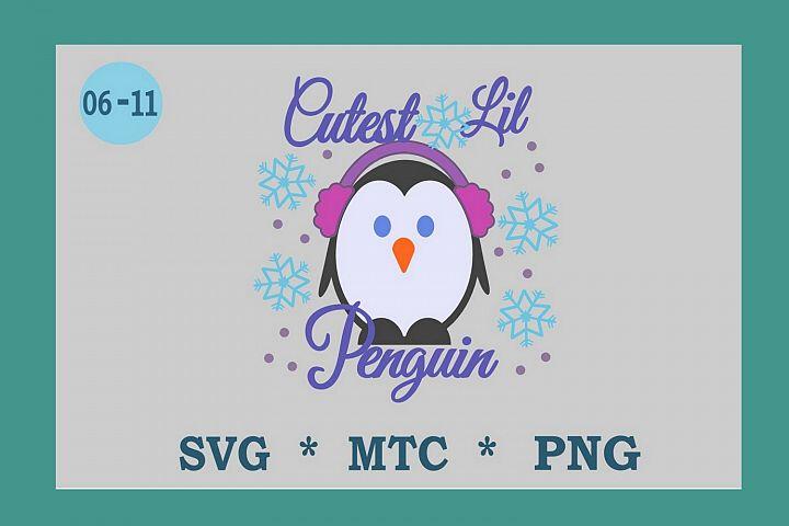 SVG Penguin with Hat Design 6-11 Winter Digital PNG Cut File