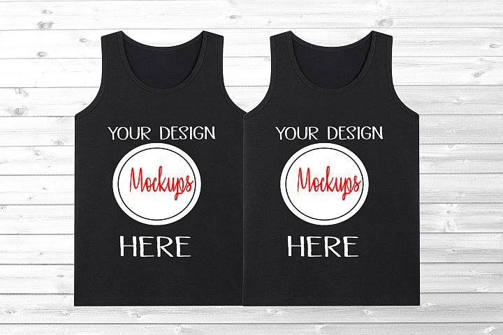 black tank top shirt mockup, tank top shirt couple mockup