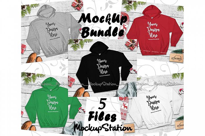 Christmas Winter Hoodie Mockup Bundle 5 Colors Gildan 18500