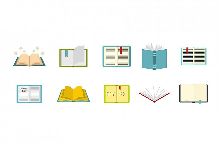 Open book icon set, flat style