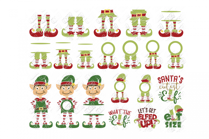 Elf SVG Bundle Monogram Quotes in SVG, DXF, PNG, EPS, JPEG
