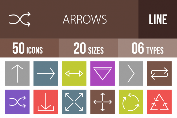 50 Arrows Line Multicolor B/G Icons