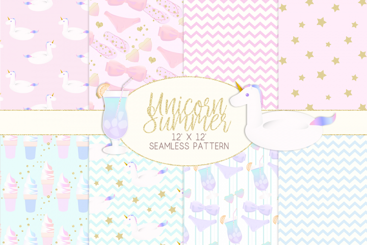 Unicorn Summer Digital Paper