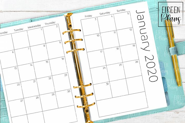 2020 Monthly printable inserts for A5 planners