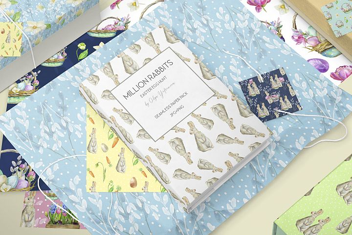 Huge Easter paper pack, watercolor seamless spring bunny