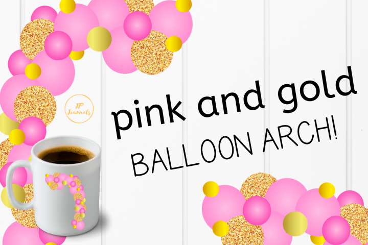 Pink and Gold Balloon Garland Arch Clip Art