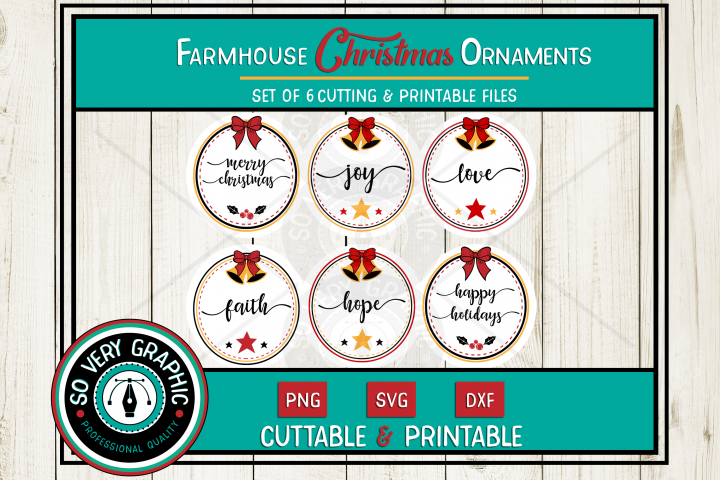 Farmhouse Christmas Ornaments | Set of 6 | SVG | PNG | DXF