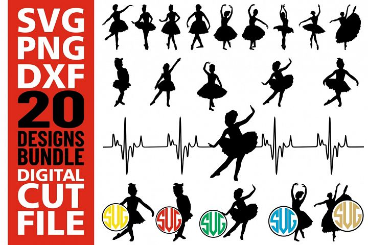20x Ballet Dancers bundle svg, Ballerina, Silhouette vector
