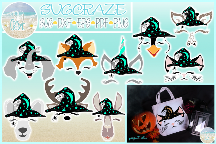 Animals with Witch Hat Halloween Bundle SVG
