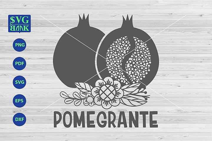 Pomegrante svg, Pomegrante with flower svg, png, dxf, cut