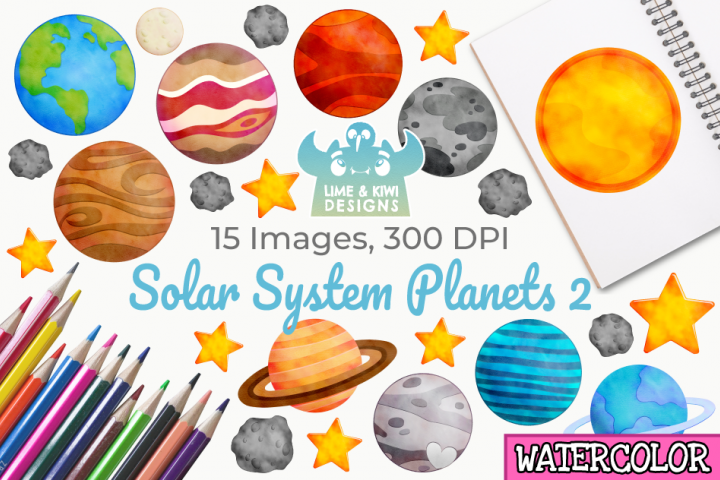 Solar System Planets 2 Watercolor Clipart, Instant Download