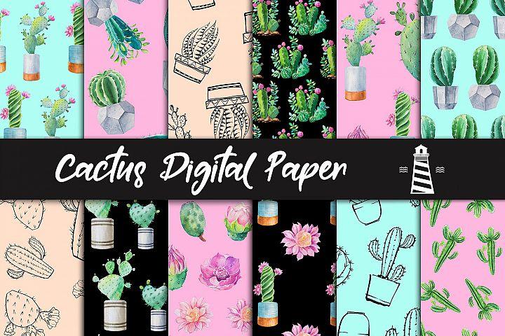 Watercolor Cacti Digital Paper