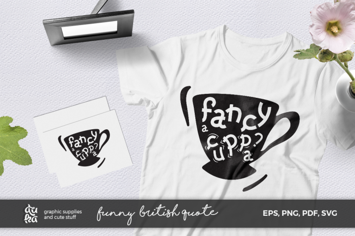 Funny Quote SVG Cut Files- Fancy a Cuppa? - British