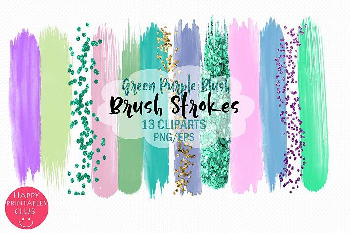 Green Purple Blush Brush Strokes-Brush Strokes Clipart